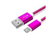 Shot Case Cable metal nylon pour acer iconia tab android chargeur usb/micro usb 1,5m connecteur tresse (rose bonbon)