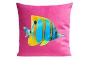 Artpilo Coussin butterfly fish velours - 40 x 40 cm