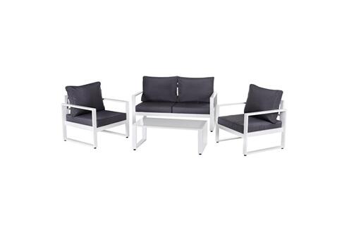 Ma Maison Mes Tendances Salon de jardin 5 places en aluminium blanc et  coussins gris + table basse avila