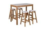 Tousmesmeubles Table haute rectangulaire blanc et bois - guzman - l 120 x l 60 x h 104 - neuf
