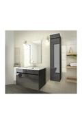 AUCUNE Luna ensemble salle de bain simple vasque l 80 cm - gris anthracite verni