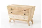 Hellin Meubles Commode en bois 3 tiroirs - ethnique