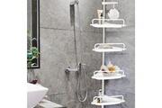 Idmarket Etagère d'angle de douche télescopique chromée avec 4 tablettes blanches