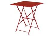 Bolero Table de terrasse rouge en acier bolero carrée 600mm