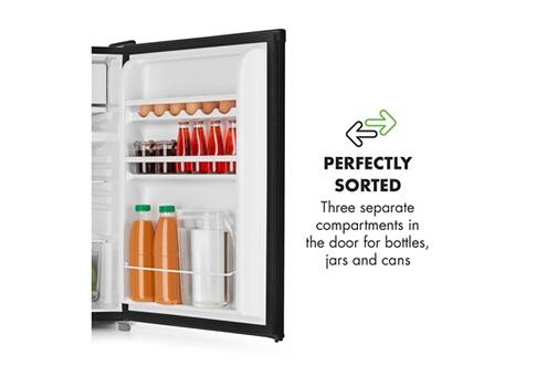 KLARSTEIN Samara réfrigérateur 120 l avec freezer - crisper bac à légumes & clayettes amovibles - classe a+ - noir