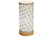 Pegane Lampe cylindre touche géométrique en fer et bois coloris blanc - dim : d.12 x h.27,5 cm -pegane-