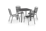 GENERIQUE Mobilier de jardin famille harare mobilier de salle à manger d'extérieur 5 pcs acier gris foncé