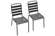 Vidaxl Chaises empilables de d'extérieur 2 pcs acier gris