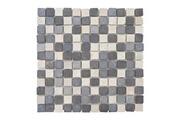 Mendler Carrelage vigo t688, marbre, pierre naturelle, mosaique, quadratins, 11 pièces à 30x30cm = 1m² ~ gris / blanc