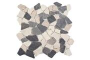 Mendler Carrelage en pierre vigo t687, marbre, pierre naturelle, mosaique, 11 pièces à 30x30cm = 1m² ~ gris et blanc