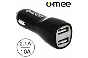 O-mee Chargeur voiture allume-cigare double port usb noir pour iphone 4