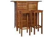 GENERIQUE Ensembles de meubles collection damas table et chaises de bar 3 pcs bois d'acacia massif