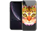 Caseink Coque crystal gel apple iphone xr (6.1 ) extra fine polygon animals - chat