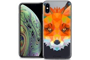 Caseink Coque crystal gel apple iphone xs max (6.5 ) extra fine polygon animals - renard