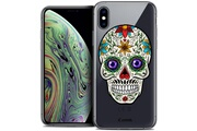 Caseink Coque crystal gel apple iphone xs max (6.5 ) extra fine skull - maria's flower