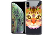 Caseink Coque crystal gel apple iphone xs max (6.5 ) extra fine polygon animals - chat