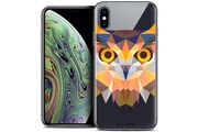 Caseink Coque crystal gel apple iphone xs max (6.5 ) extra fine polygon animals - hibou