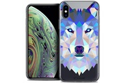 Caseink Coque crystal gel apple iphone xs max (6.5 ) extra fine polygon animals - loup