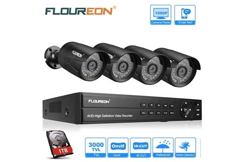 Floureon Kit caméra de surveillance avec 1 * ahd dvr 8ch 1080p 1080n / 4 * caméras extérieur 1080p 2.0mp 3000tvl / 1to disque dur eu