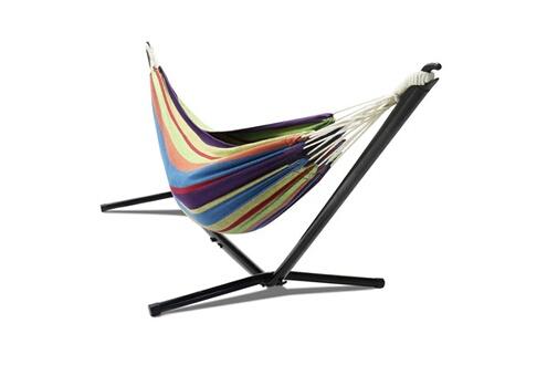 Idmarket Hamac avec support métal et toile rayée multicolore