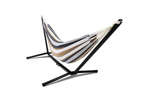 Idmarket Hamac avec support métal et toile rayée noire, blanche et chocolat