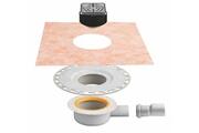 Schluter Kit complet siphon + grille/cadre kerdi drain - kit d'évacuation horizontal complet siphon + grille/cadre design 1 avec vis