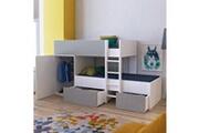 LE QUAI DES AFFAIRES Lit superposé twin 90x190 avec armoire et tiroirs + 2 sommiers / blanc et gris