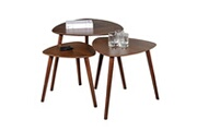 LE QUAI DES AFFAIRES Lot de 3 tables basses gigognes aloa / noyer