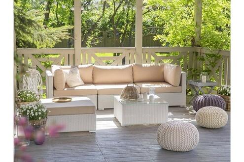 Beliani Salon de jardin en rotin blanc et coussins beiges sables sano