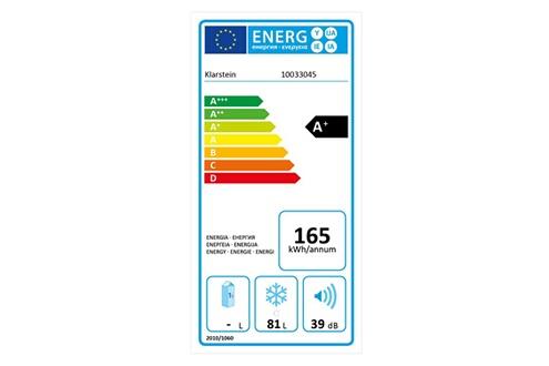 KLARSTEIN Garfield xxl congélateur sous plan 81l - 3 tiroirs transparents - thermostat - 39db - classe a+ - noir