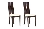 Vente-unique Lot de 2 chaises salena - hêtre massif coloris wengé
