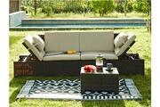 Vente-unique Banquette modulable et table basse de jardin gandoca en résine tressée chocolat - assise crème