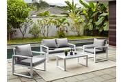 Vente-unique Salon de jardin kiribati en aluminium et cordes: un canapé 2 places, 2 fauteuils et une table basse