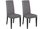 Vente-unique Lot de 2 chaises tacoma - simili gris & pieds noirs