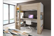 Vente-unique Lit mezzanine noah avec bureau et rangements intégrés - 90x200cm