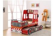 Vente-unique Lit pompier gigogne sapeur 2x90x190cm - mdf rouge