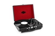 Auna Peggy Sue - Platine vinyle portable design valise vintage avec 2 haut-parleurs, port USB pour numérisation et poignée de transport (sortie RCA pour connexion enceinte, compatible 33/45/78 tours, démarrage automatique) - noir