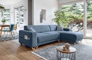 Bobochic Bobochic bella - canapé d'angle réversible convertible - avec coffre - 4 places - tissu couleur - bleu