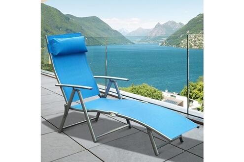 Outsunny Outsunny transat chaise longue bain de soleil pliable dossier inclinable multi-positions têtière fournie 137l x 64l x 101h cm métal époxy textilène bleu