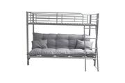 Price Factory Lit superposé louis futon gris + sommier. Coussin bas inclus. Couchage 90x200 cm. Confortable, robuste et de qualité.