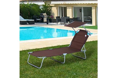 Outsunny Transat bain de soleil pliable grand confort dossier et pare-soleil réglable multi-positions chocolat