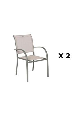 Hesperide 2 chaises de jardin piazza - h. 88 cm - taupe et mastic