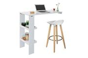 Sobuy Sobuy® fwt55-w table de bar murale table haute de bar mange-debout cuisine avec 2 étagères de rangement