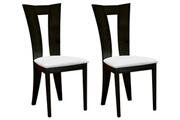 Vente-unique Lot de 2 chaises tiffany - hêtre massif - blanc & wengé