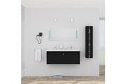 No-name Salle de bain complete alban ensemble salle de bain double vasque avec miroir l 120 cm - noir laqué brillant