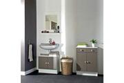 No-name Meuble sous vasque - meuble vasque integree galet meuble sous lavabo l 60 cm - blanc et taupe mat