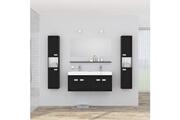 No-name Salle de bain complete alpos ensemble salle de bain double vasque avec miroir l 120 cm - laqué noir brillant