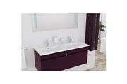 No-name Salle de bain complete alban ensemble salle de bain double vasque avec miroir l 120 cm - aubergine laqué brillant