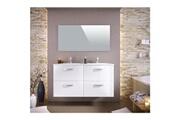 No-name Salle de bain complete stella ensemble salle de bain double vasque avec miroir l 120 cm - blanc laqué brillant