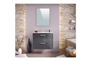 No-name Salle de bain complete stella ensemble salle de bain simple vasque avec miroir l 80 cm - gris laqué brillant